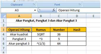 Rumus Akar Kuadrat, Pangkat 3 dan Akar Pangkat 3 di Microsoft Excel