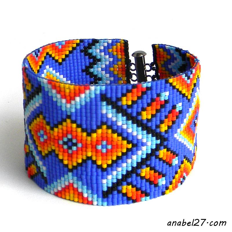 beaded bracelet native american style looom cuff