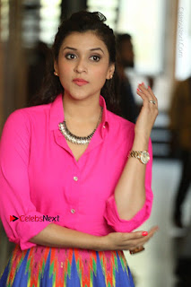 Actress Mannar Chopra in Pink Top and Blue Skirt at Rogue movie Interview  0078.JPG