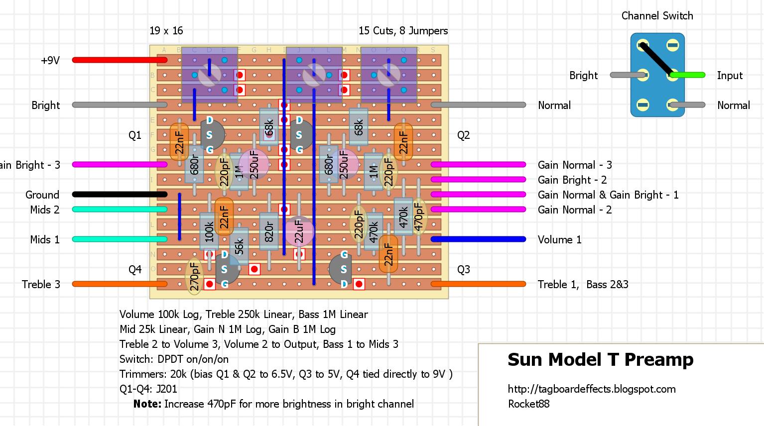 Guitar FX Layouts: Sunn Model T (1st Gen) Preamp