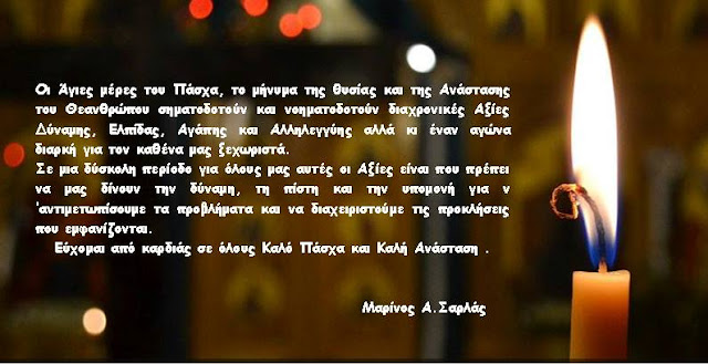 Πασχαλινές ευχές από Μαρίνο Σαρλά
