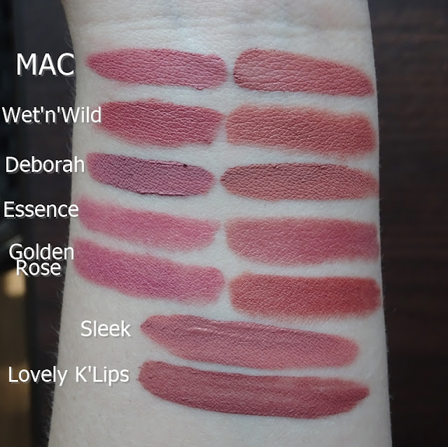 MAC Mehr, MAC Velvet Teddy, Wet n wild In the flesh, Bare It All, Deborah Fluid Velvet Mat Lipstick 01, 02, Essence Longlasting Lipstick 07 Natural Beauty, 06 Barely there, Golden Rose Matte Lipstick Crayon 10, 21, Sleek Matte Me Birthday Suit, Lovely K'Lips 7 Magic Dessert