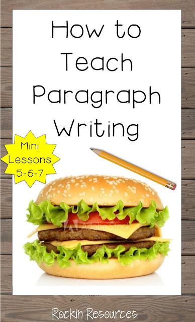 topic sentence, relevant details, closing sentence, clincher, hamburger model, graphic organizer
