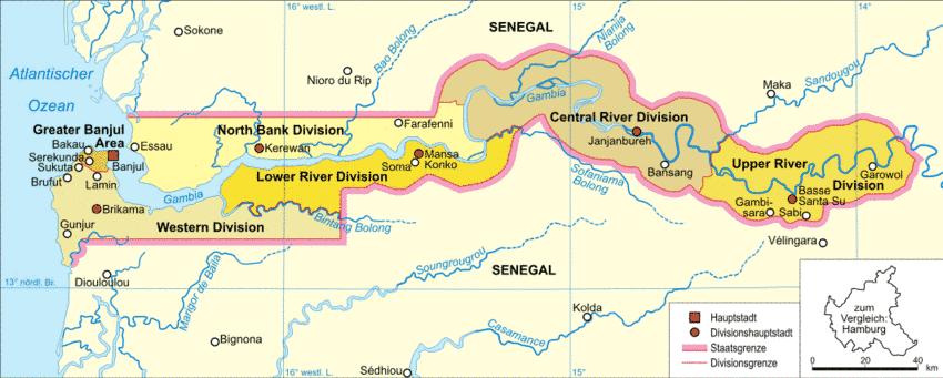 Gâmbia | Mapas Geográficos da Gâmbia