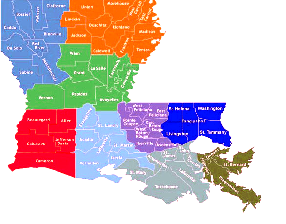 Map Of Louisiana Parishes And Cities Bnhspine Com
