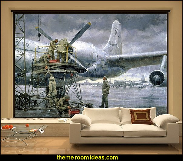 Decorating theme bedrooms maries manor airplane theme for Army wallpaper mural