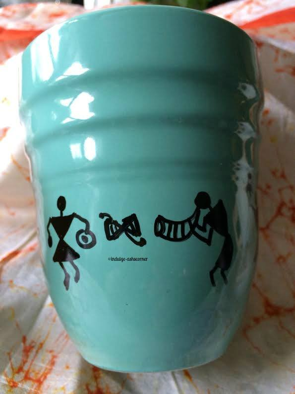 Easy warli with Sharpie markers on ceramic mug