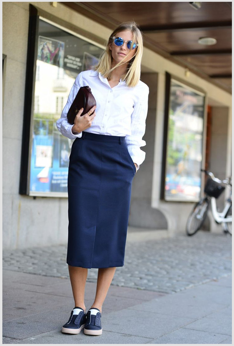 How to Wear Sneakers with Midi Skirts