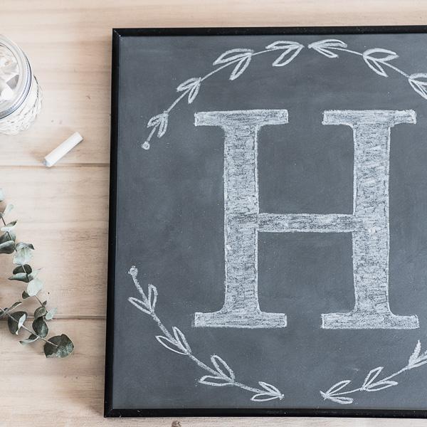 how to make your own framed chalkboard with a hand drawn chalk monogram personallyandrea - Diy Framed Chalkboard