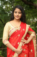 Akshara in Red Saree Golden Choli at LV Movie Makers Production No 1 Movie Opening ~  Exclusive 069.JPG