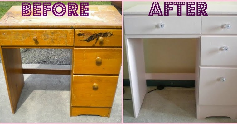 My First Furniture Redo: Pretty Pink Desk