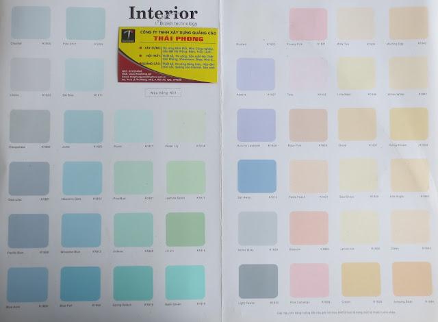 bảng màu sơn Matex trong nhà