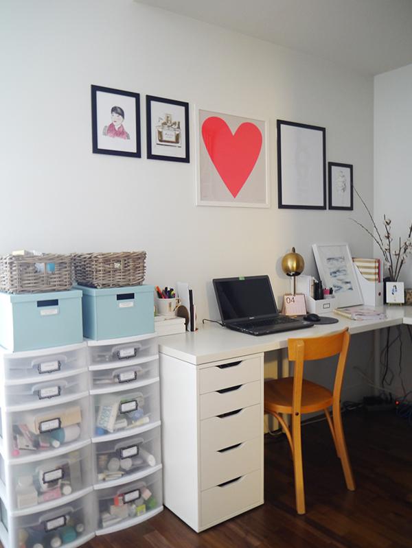 Feminine beauty blogger home office space