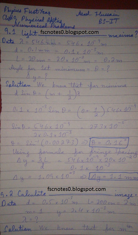 F.Sc ICS Notes: Physics XI: Chapter 9 Physical Optics Numerical Problems Asad Hussain