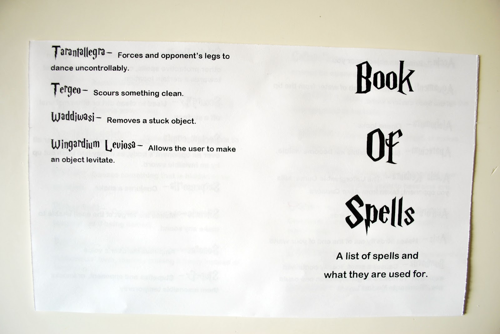 photo regarding Printable Harry Potter Spells identified as Larissa A different Working day: Harry Potter Spell and Creature Publications