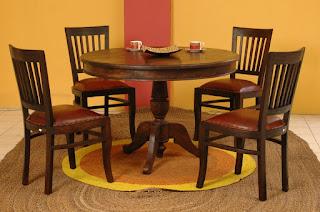 Carissa round set - set kursi makan bundar jati