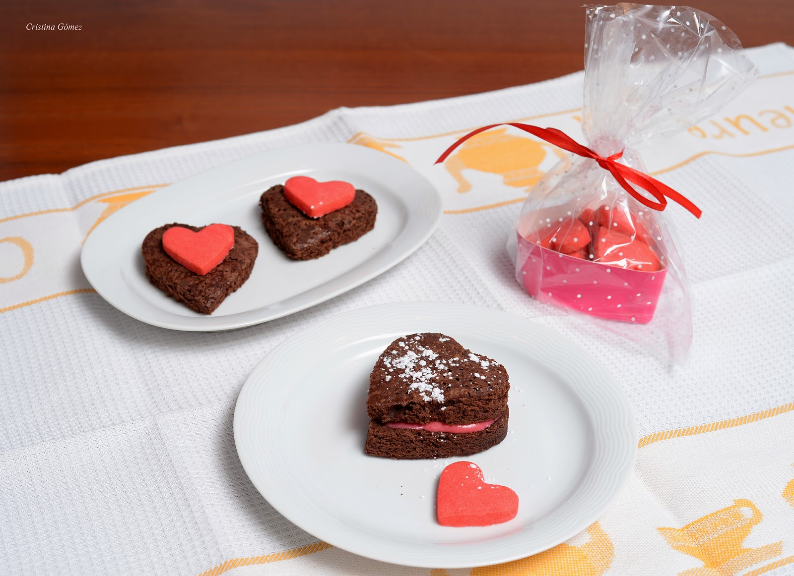 valentine's day brownie hearts with raspberry buttercream