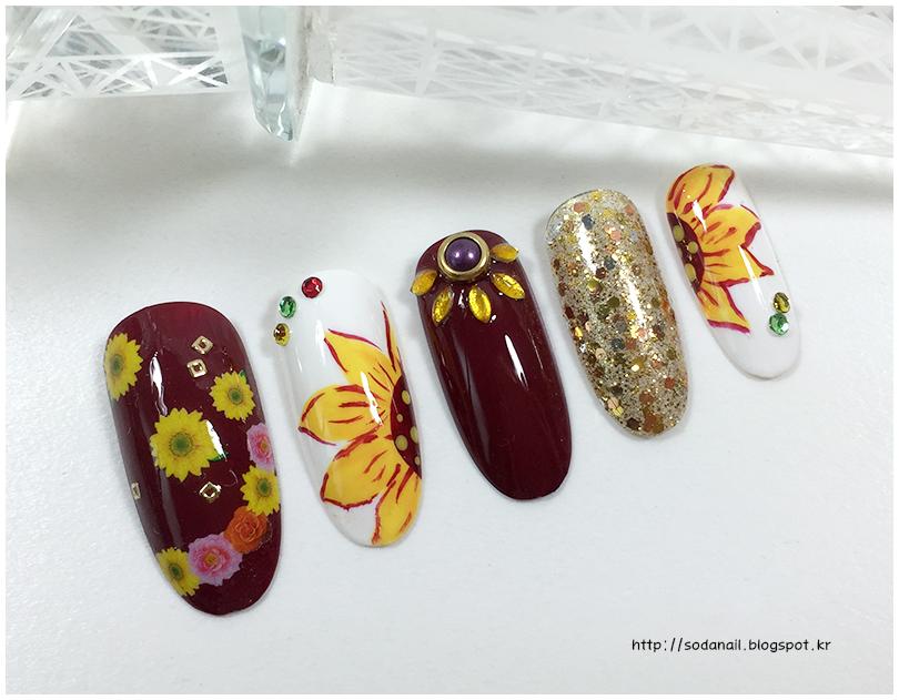 sodaNaiL: Sunflower Nail Art Design - autumn nails