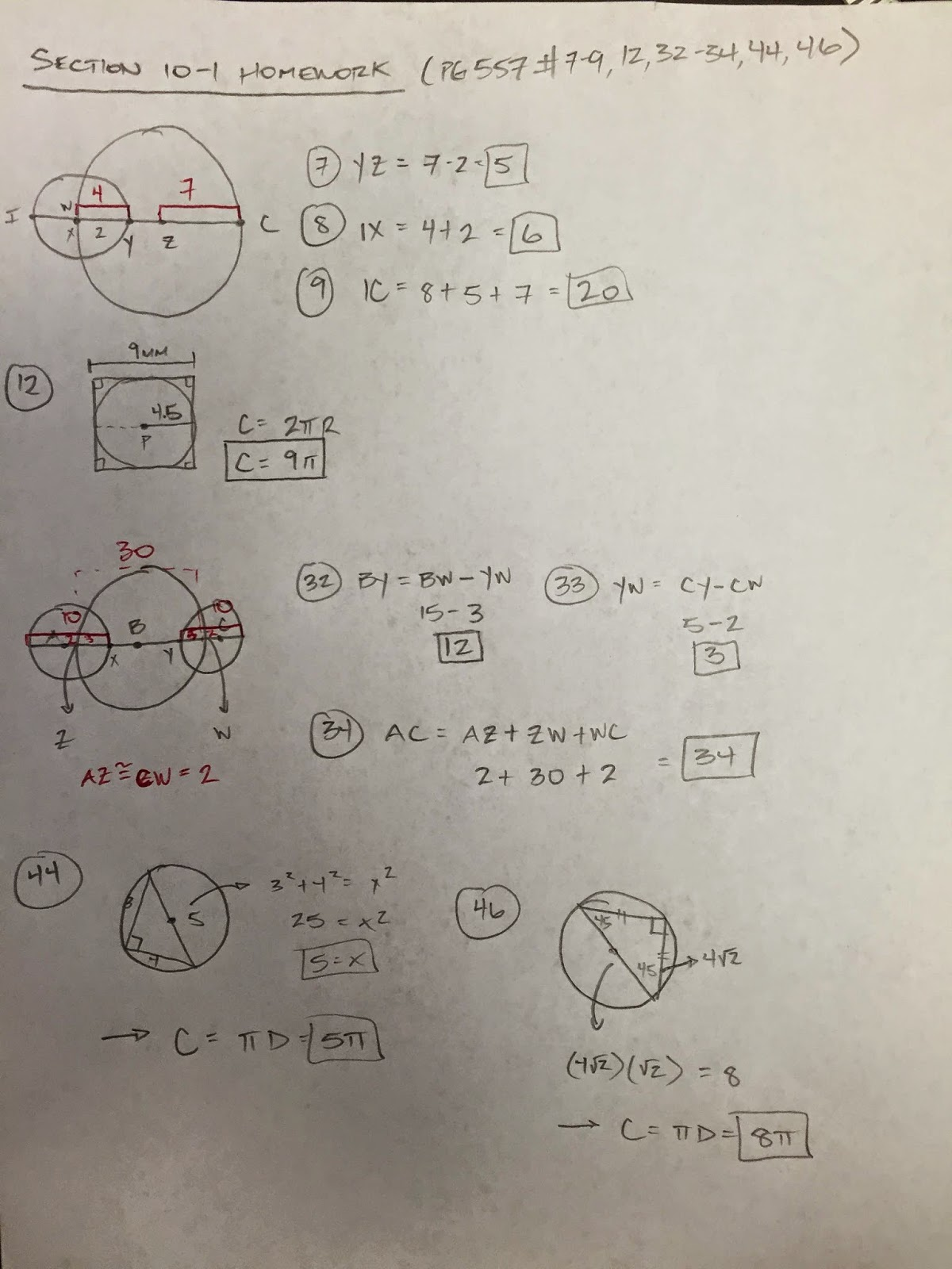 Honors Geometry - Vintage High School: Section 10-1 ...