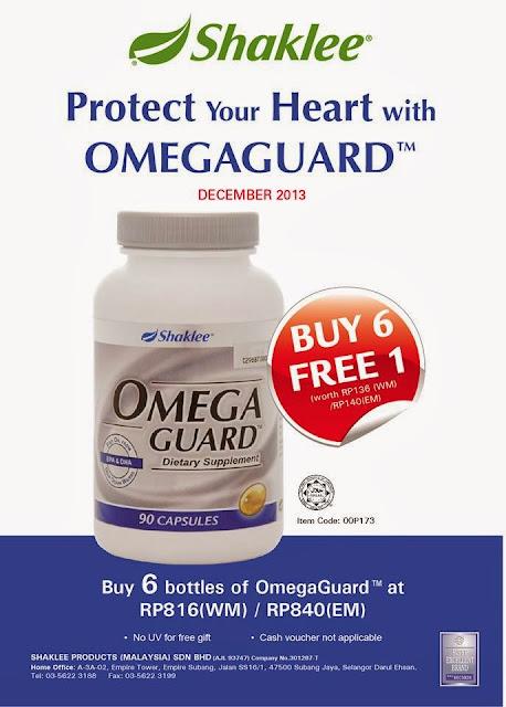 Promosi OmegaGuard Shaklee Beli 6 Free 1 untuk bulan Dismeber 2013 ini sahaja