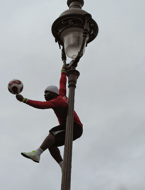 Paris street performer football skills Montmartre