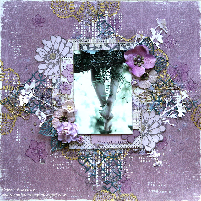 scrapbooking layout with stencils, stamps and layers