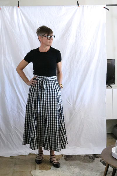 gingham midi skirt pockets