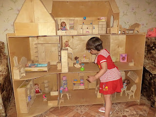 Large of plywood dollhouse