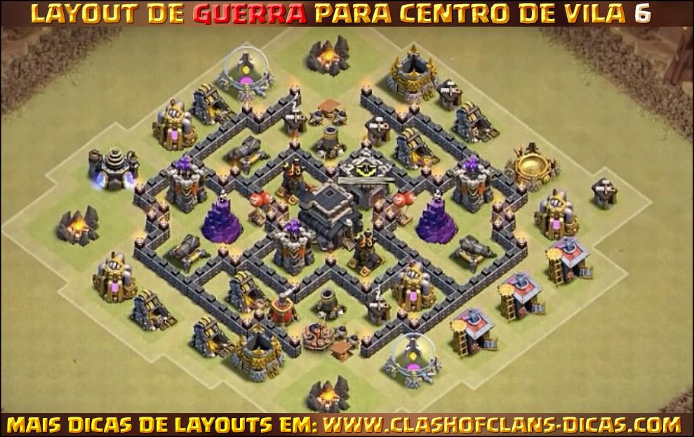 Layouts para Centro de Vila 6 em Guerra - Clash of Clans Dicas