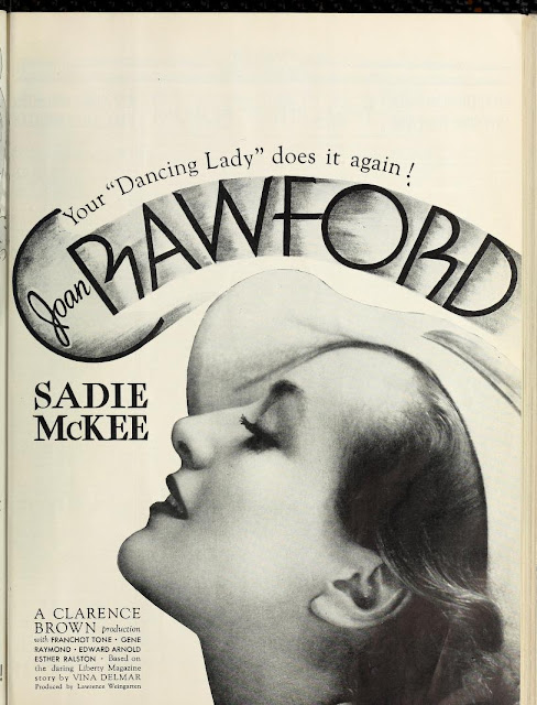 Sadie McKee ad from The Film Daily April-June 1934