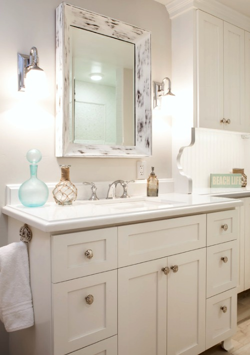 decorative bathroom mirrors coastal nautical style shop the look coastal decor ideas and interior design inspiration images - Decorative Bathroom Mirrors