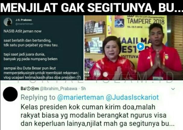 MERADANG! Suryo Prabowo: Zohri DIPERSEKUSI Ibu Duta Besar untuk Terima Kasih ke Jokowi. Warganet: Menjilat Gak Segitunya, Bu!