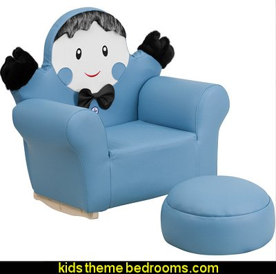 Kids Little Boy Rocker Chair and Footrest Little boy blue