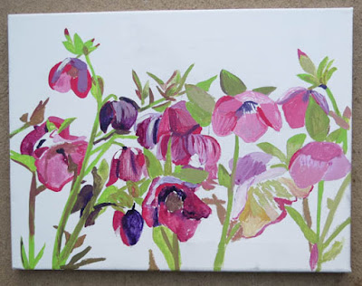 Painting back lit Hellebores, step by step.