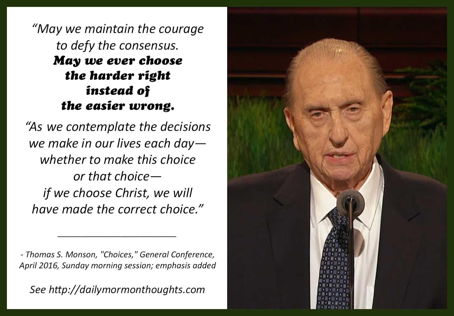 Daily Thought From Modern Prophets: Thomas S. Monson On
