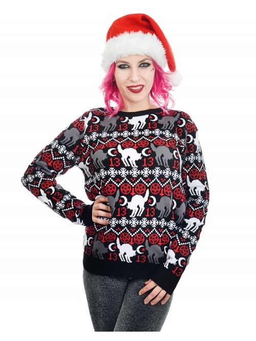 black cats ugly christmas sweater - Black Metal Christmas Sweater