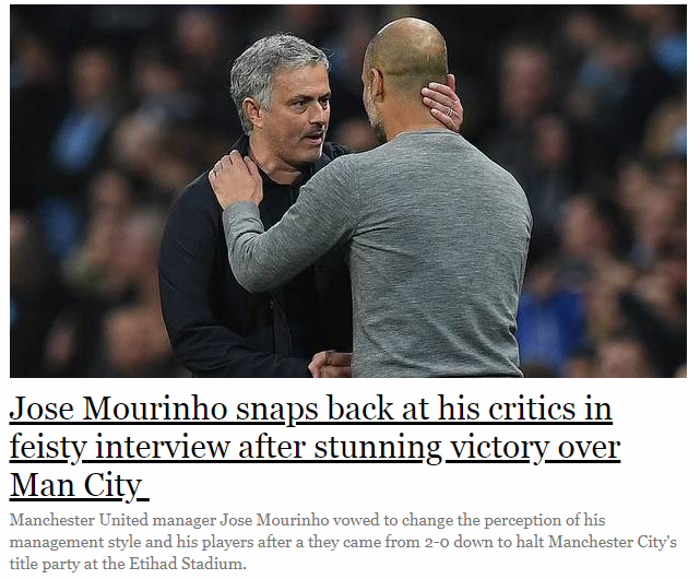 Jose Mourinho snaps back at his critics in feisty interview after stunning victory over Man City