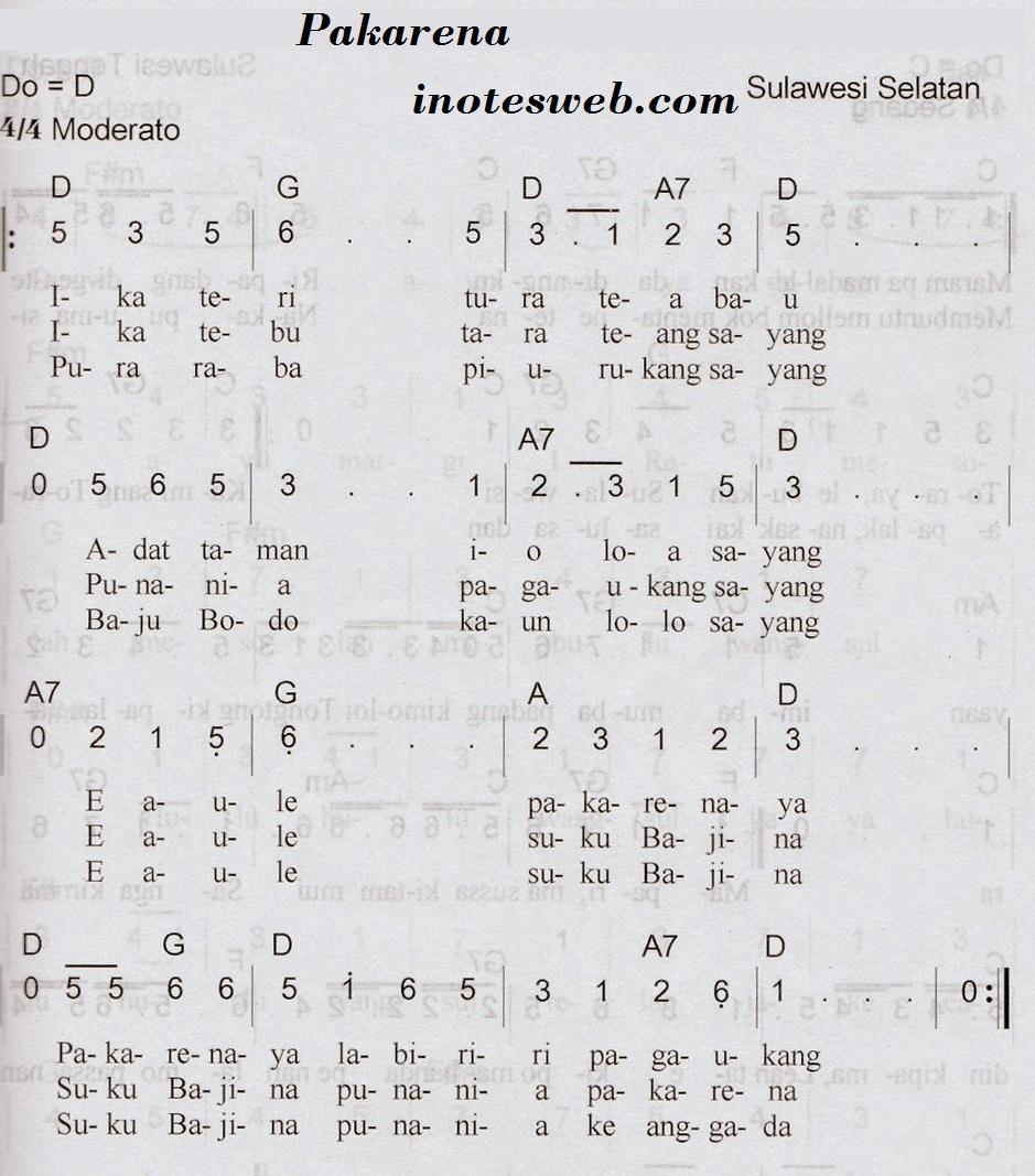Chord, Not Angka, Makna Dan Arti Lagu Pakarena