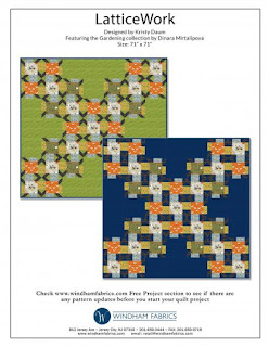 LATTICE WORK Free Quilt Pattern // Kristy Daum for Windham Fabrics using the Gardening collection by Dinara Mirtalipova  #quilting #freepattern #freequiltingpattern #quilt