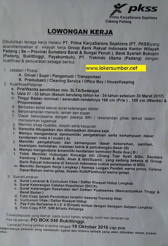 Lowongan Kerja di Sumbar via Prima Karya Sarana Sejahtera (Penutupan 19 Okt.2016)