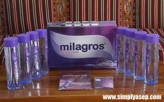 MILAGROS : 1 dus Milagros isi 12 botol seharga Rp.350.000,- sudah lengkap dengan buku dan Kartu garansi.  Foto Asep Haryono