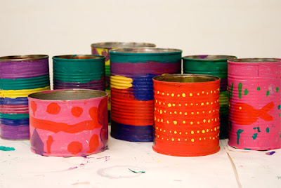 whipup picklebums paintedtin tins - DIY Tin Can Planters