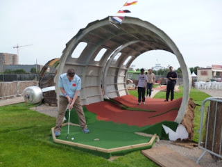 Playing the 'Golf Apocalypse' Mini Golf course at London's Pleasure Gardens, near Pontoon Dock