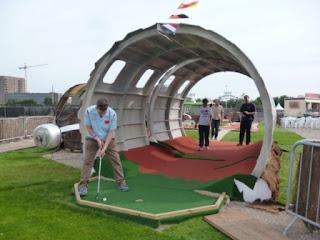 Playing the 'Golf Apocalypse' Mini Golf course at London's Pleasure Gardens, near Pontoon Dock