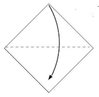 Bước 1: Gấp đôi tờ giấy lại như hình vẽ