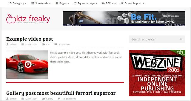 KTZ Freaky Tema Wordpress Gratis Yang Cocok Untuk Blog Personal