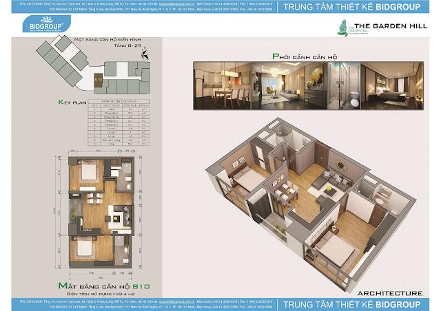 Căn hộ B10 tầng 8-29, diện tích 59m2