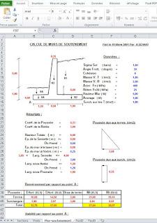 calcul des fondation de semelles, calcul de butées, calcul des sections des barres...
