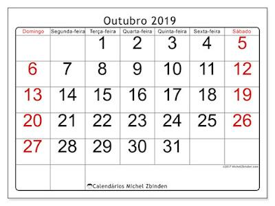 Calendário outubro/2019