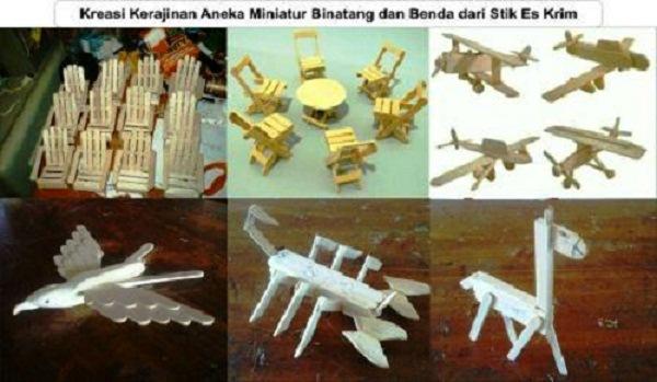 kreasi kerajinan aneka miniatur binatang dan benda dari stik es krim
